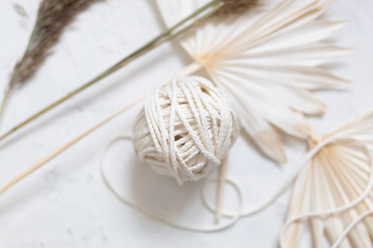 Pīta lina aukla 5mm, 10-50m, silti balta/Ivory white (#1)
