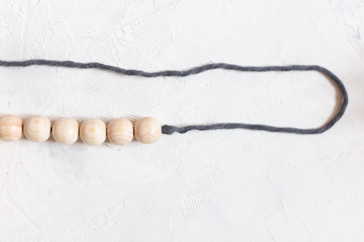 Koka bumbiņu virtenes un dekoru komplekts, tumši pelēks, #10