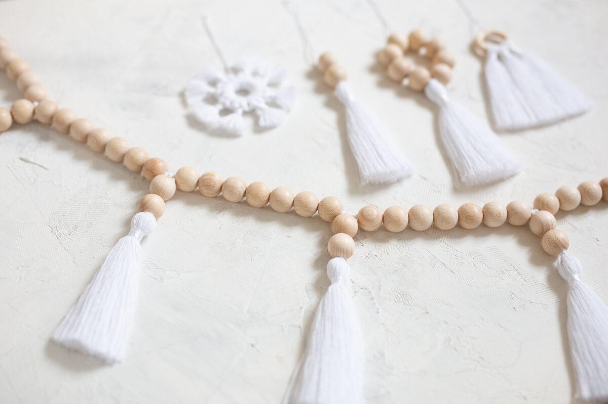 Koka bumbiņu virtenes un dekoru komplekts, balts, #9