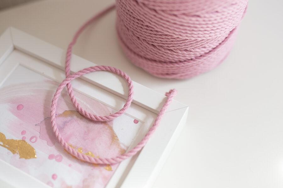 Kokvilnas aukla 3-pavedienu 4mm, 10-50m, rozā