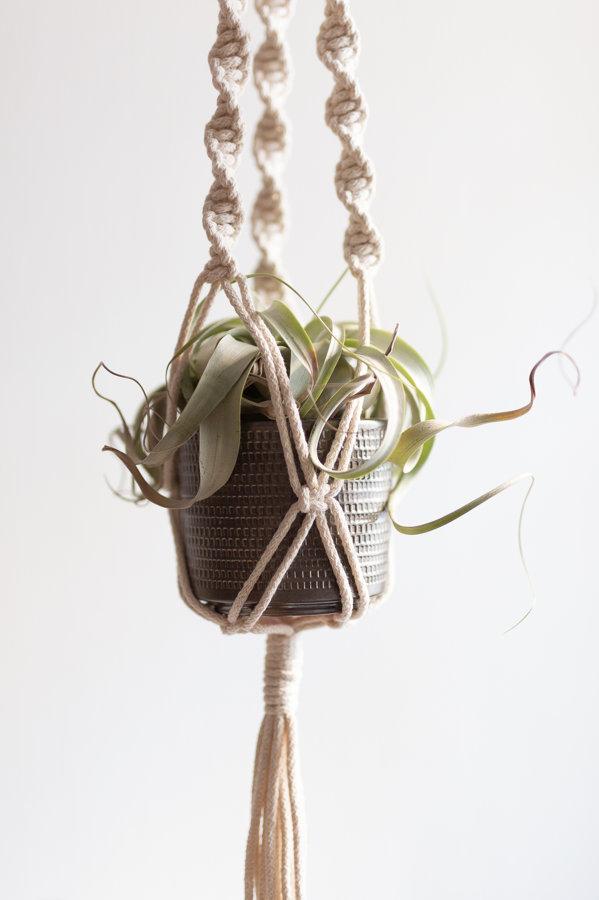 Puķu poda turētāja mezglošanas DIY komplekts no pītas auklas #2