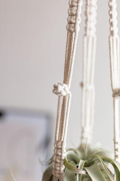 Puķu poda turētāja mezglošanas DIY komplekts no pītas auklas #4
